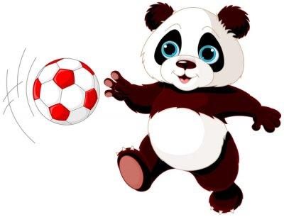 Affisch Panda träffar bollen