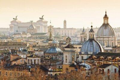 Affisch Panorama av gamla stan i Rom, Italien