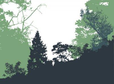 Affisch Panorama skogslandskap med silhuetter av träd