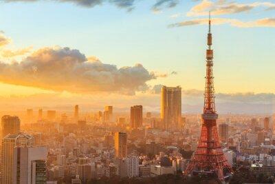 Affisch panoramautsikt över Osaka från översta våningen i den högsta byggnaden