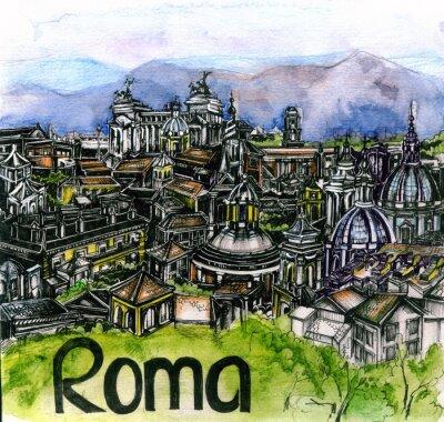 Affisch panoramavy över Roma vattenfärg av Europeiska unionens