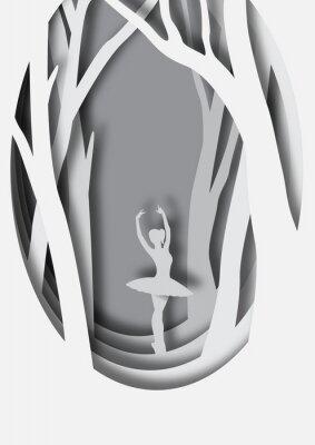 Affisch Papperskulptur av ballerina