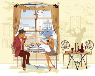 Affisch Par, man och kvinna, i caféet.