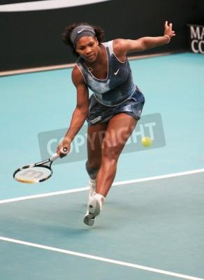 Affisch PARIS - 11 februari: US Serena Williams tillbaka bollen på Open GDF SUEZ WTA-turnering, Pierre de Coubertin Stadium den 11 februari 2009 i Paris, Frankrike.