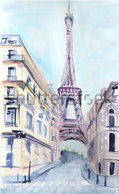 Affisch Paris arkitektur. Eiffeltornet