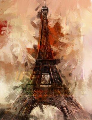 Affisch Paris Målning Eiffeltornet Eiffeltornet Bild konstoljamålning
