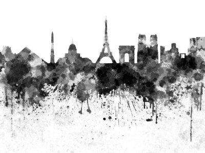 Affisch Paris skyline i svart vattenfärg