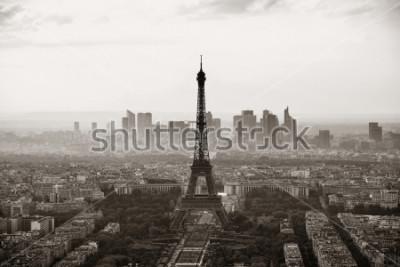 Affisch Paris stads takvy med Eiffeltornet svart och vitt.