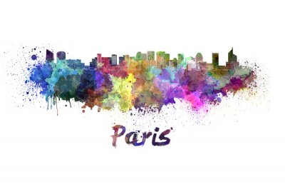 Affisch Paris V2 skyline i vattenfärg