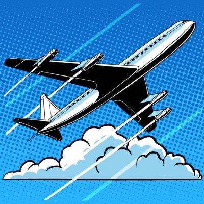 Affisch Passagerarplan i molnen retro bakgrund