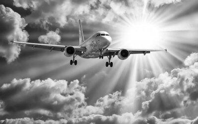 Affisch Passagerarplan lyfta från banor mot vackra grumlig s