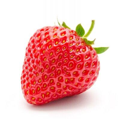 Affisch Perfekt röd mogen jordgubbe isolerad