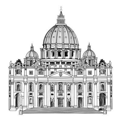 Affisch Peterskyrkan, Rom, Italien. Vatican arkitektur.