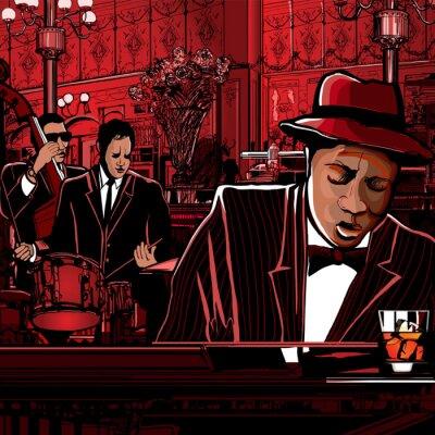 Affisch piano-Jazz band i en restaurang