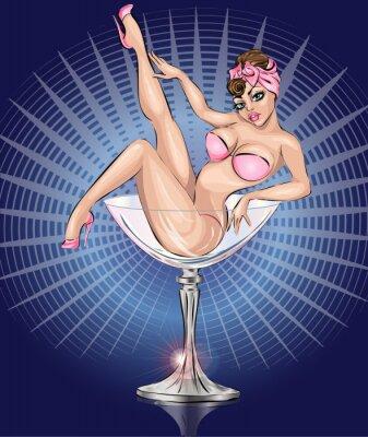Affisch Pin Up sexig tjej klädd i rosa bikini i Martini glas