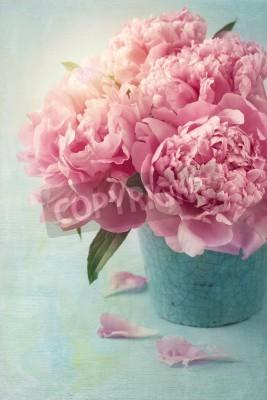 Affisch Pion blommor i en vas