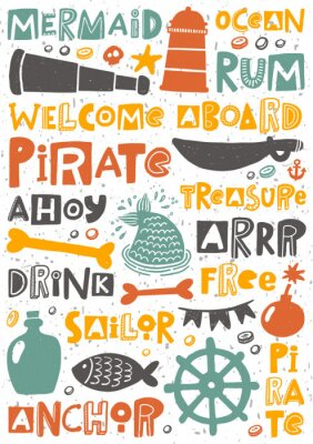 Affisch Pirate party hand written lettering poster. Colorful grunge banner with ink drops and stylized phrases. Decoration print.