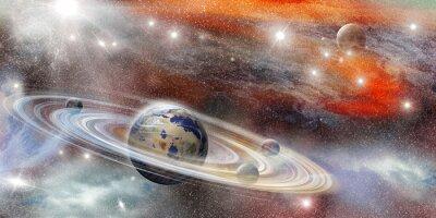 Affisch Planet i rymden med många ringsystem