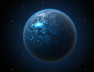 Affisch Planet med upplyst Network
