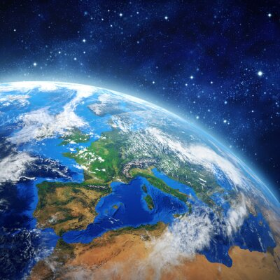 Affisch planeten jorden i yttre rymden