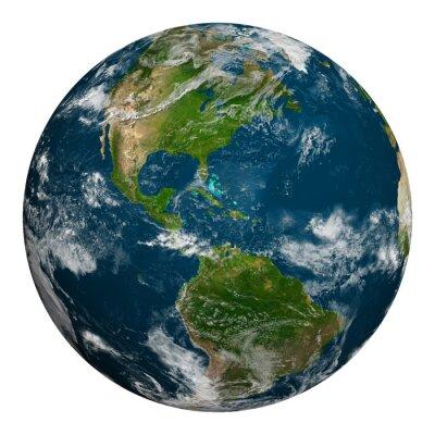 Affisch Planeten jorden med moln. Nord- och Sydamerika.