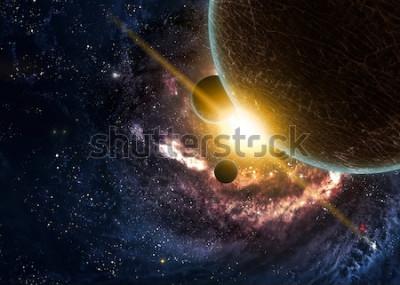 Affisch Planeter över nebulosorna i rymden