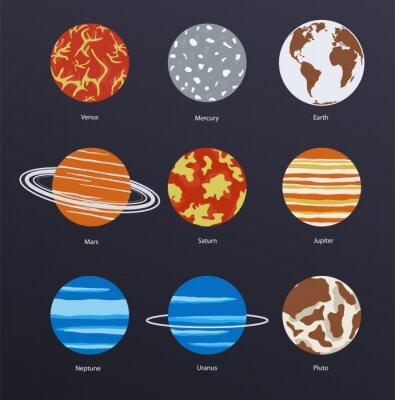 Affisch Planets ikoner på mörk bakgrund