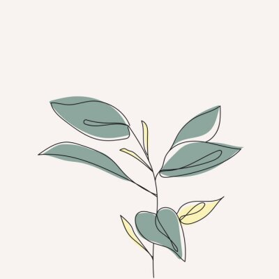 Affisch Plant leaves continuous line drawing. One line . Hand-drawn minimalist illustration, vector.
