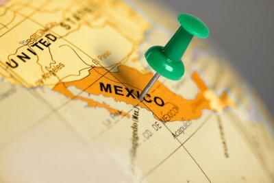 Affisch Plats Mexiko. Grön stift på kartan.