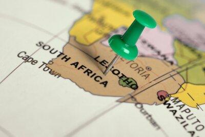 Affisch Plats Sydafrika. Grön stift på kartan.