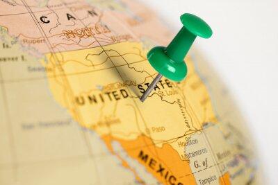Affisch Plats USA. Grön stift på kartan.