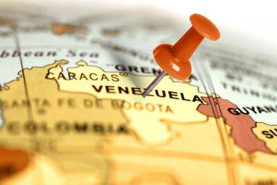Affisch Plats Venezuela. Röd stift på kartan.