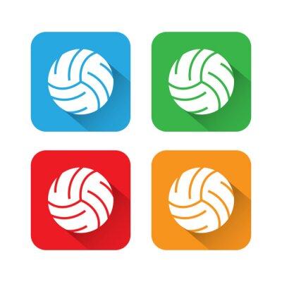 Affisch Platt och Long Shadow volleyboll Ikon
