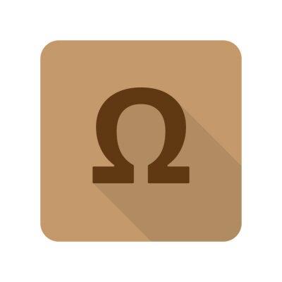 Affisch Platt stil Omega webbprogramikon på ljusbrun bakgrund