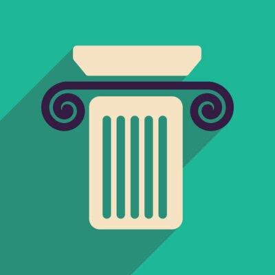 Affisch Platt webb ikon med lång skugga kolonn