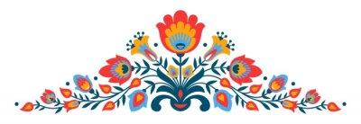 Affisch Polish folk papercut stil blommor