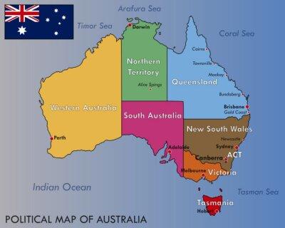 Affisch Political Map of Australia