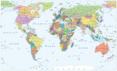 Affisch Politisk världskarta - gränser, länder och städer