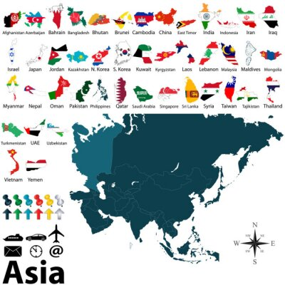 Affisch Politiska kartor över Asien