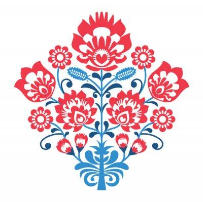 Affisch Polska Allmoge mönster med blommor - wzory lowickie, wycinanka