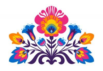 Affisch Polska folk inspirerade blommor