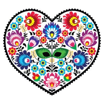 Affisch Polska folkkonst hjärta konst med blommor - wzory lowickie