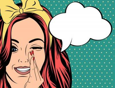 Affisch Pop Art illustration av flicka med pratbubblan