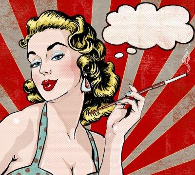 Affisch Pop Art kvinna med pratbubblan och cigarett.