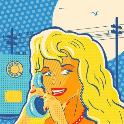 Affisch Pop Art stil flicka med telefon