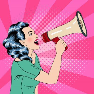 Affisch Pop Art Style kvinna med Megafon