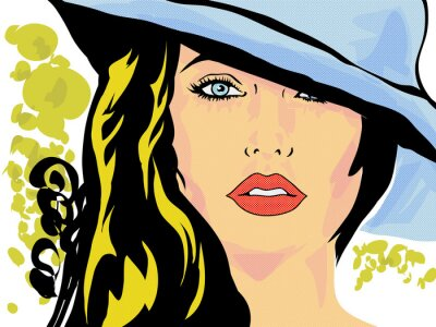 Affisch popkonst femme chapeau ansikte, tête