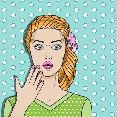 Affisch Popkonst kvinna förvirrad, förvånad rött hår kvinna. Komiska kvinna vektor.