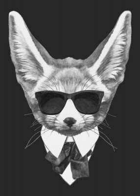 Affisch Portrait Fennec Fox in suit. Hand-drawn illustration of dog. Vector isolated elements.
