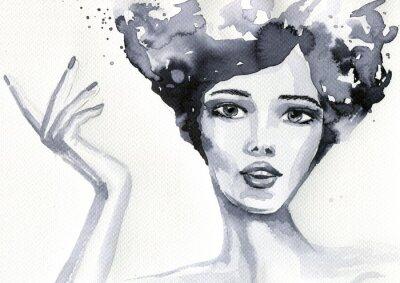 Affisch portret kobiety akwarelowy